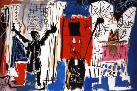 Obnoxious Liberals, Jean-Michel Basquiat, acrylic and crayon on canvas, 1982