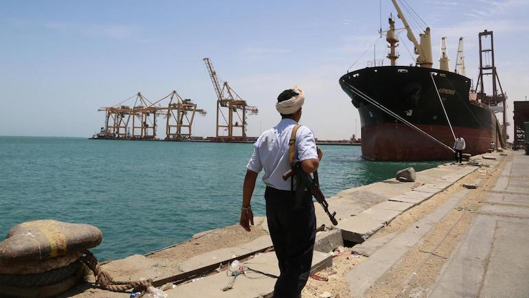 Houthi Fighter Patrols the Port in Hodeidah